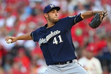ST. LOUIS, MO - MAY 18: Starter Marco Estrada #41 of the Milwaukee Brewers pitches against the St. Louis Cardinals at Busch Stadium on May 18, 2013 in St. Louis, Missouri.  (Photo by Dilip Vishwanat/Getty Images) By Dilip Vishwanat