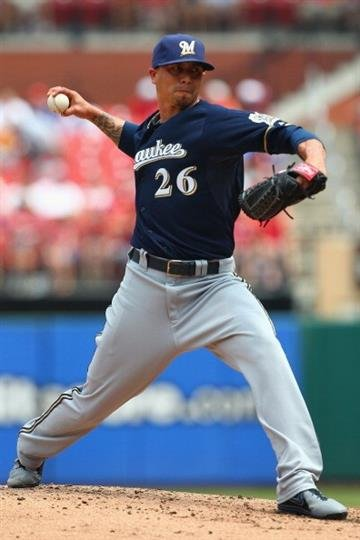 ST. LOUIS, MO - MAY 19: Starter Kyle Lohse #26 of the Milwaukee Brewers pitches against the St. Louis Cardinals at Busch Stadium on May 19, 2013 in St. Louis, Missouri.  (Photo by Dilip Vishwanat/Getty Images) By Dilip Vishwanat
