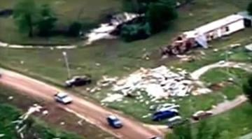 Aerial video from CBS affiliate KOTV shows where a tornado touched down in Shawnee, Oklahoma, devastating the area. / KOTV By Dan Mueller