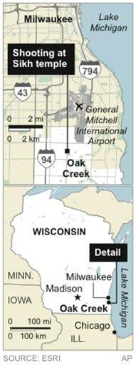UPDATES to add detailed location; map locates Oak Creek, Wis., site of shooting at Sikh temple By C. Osgood