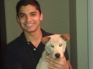 Derek Fierro and Doc when he adopted the previously abused chow/lab mix. (Credit: Chicago Canine Rescue Foundation)