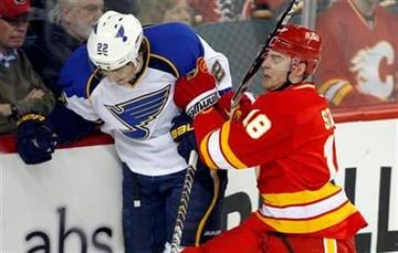 St. Louis Blues' Kevin Shattenkirk, left, tries to squeeze past Calgary Flames' Matt Stajan during first period NHL hockey action in Calgary, Alberta, Monday, Feb. 27, 2012.(AP Photo/The Canadian Press, Jeff McIntosh) By Jeff McIntosh