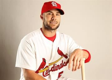 JUPITER, FL - FEBRUARY 24: Skip Schumaker #55 of the St. Louis Cardinals poses for a portrait during Photo Day at Roger Dean Stadium on February 24, 2011 in Jupiter, Florida.  (Photo by Mike Ehrmann/Getty Images) By Mike Ehrmann