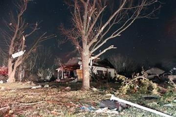 A tornado late Tuesday February 28 2012 caused various damages to properties in the town of Harveyville, Wabaunsee County, Kansas, according to this image taken early on Wednesdays. (AP Photo / Matthew Fowler, Gazette) By Mathew Fowler