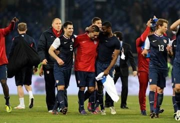 GENOA, ITALY - FEBRUARY 29:  Players of USA celebrates after the international friendly match between Italy and USA at Luigi Ferraris Stadium on February 29, 2012 in Genoa, Italy.  (Photo by Claudio Villa/Getty Images) By Claudio Villa