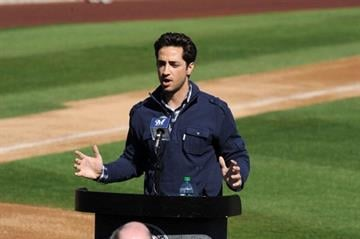 PHOENIX, AZ - FEBRUARY 24:  Ryan Braun of the Milwaukee Brewers talks to the media prior to spring workouts at Maryvale Baseball Park on February 24, 2012 in Phoenix, Arizona.  (Photo by Norm Hall/Getty Images) By Norm Hall