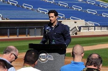 PHOENIX, AZ - FEBRUARY 24:  Ryan Braun #8 of the Milwaukee Brewers talks to the media prior to spring workouts at Maryvale Baseball Park on February 24, 2012 in Phoenix, Arizona.  (Photo by Norm Hall/Getty Images) By Norm Hall