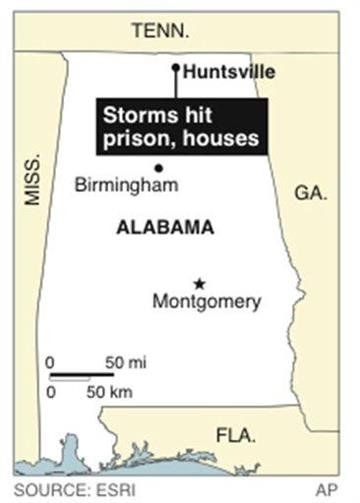 Map locates Huntsville area, where houses were destroyed and prison was hit By P. Prengaman, pp