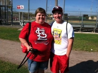 Amy Kempker and Jeremy Wolters from Jefferson City, MO. Here in Florida for about a week. Favorite players are David Freese and Yadier Molina. By Bryce Moore