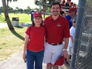 Ted and Gail Hoef from Shrewsbury, MO. Here in Florida for about a week. Favorite players are David Freese and Chris Carpenter. By Bryce Moore