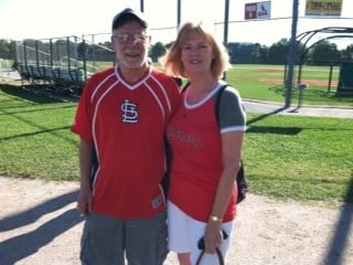 Donna and Skip Stengel from Florissant, MO. Here in Florida for 5 days. Favorite player for both is Lance Berkman. By Bryce Moore