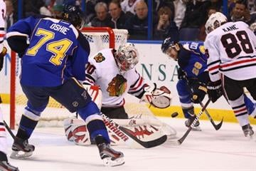 ST. LOUIS, MO - MARCH 6: Ray Emery #30 of the Chicago Blackhawks makes a save against the St. Louis Blues at the Scottrade Center  on March 6, 2012 in St. Louis, Missouri.  (Photo by Dilip Vishwanat/Getty Images) By Dilip Vishwanat