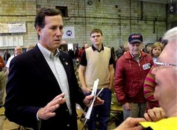 Republican presidential candidate, former Pennsylvania Sen. Rick Santorum answers question from local residents while campaigning in Hannibal, Mo., Friday, Feb. 3, 2012. (AP Photo/Seth Perlman) By Seth Perlman