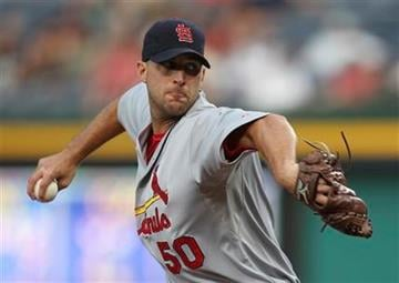 St. Louis Cardinals starting pitcher Adam Wainwright (50) works in the first inning of a during a baseball game against the Atlanta Braves in Atlanta, on Thursday, Sept. 9, 2010. (AP Photo/John Bazemore) By John Bazemore