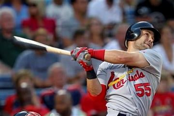 St. Louis Cardinals second baseman Skip Schumaker (55) follows through with a two-run home run in the second inning of a during a baseball game against the Atlanta Braves in Atlanta, on Thursday, Sept. 9, 2010. (AP Photo/John Bazemore) By John Bazemore