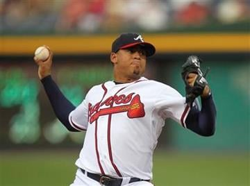 Atlanta Braves starting pitcher Jair Jurrjens (49) works in the first inning of during a baseball game against the St. Louis Cardinals in Atlanta, on Thursday, Sept. 9, 2010. (AP Photo/John Bazemore) By John Bazemore