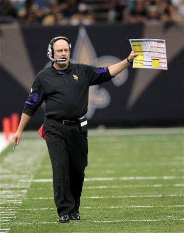 Minnesota Vikings coach Brad Childress yells instructions during an NFL football game against the New Orleans Saints in New Orleans, Thursday, Sept. 9, 2010. (AP Photo/Pat Semansky) By Pat Semansky