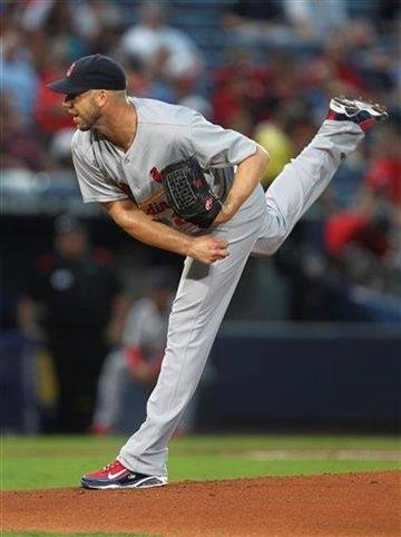 St. Louis Cardinals starting pitcher Chris Carpenter (29) works in the first inning of a Major League Baseball game against he Atlanta Braves in Atlanta, on Friday, Sept. 10, 2010. (AP Photo/John Bazemore) By John Bazemore