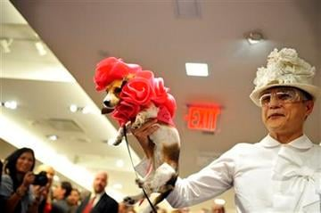 Designer Charles Chang-Lima holds his dressed up dog Isabella during a doggie fashion show at Bergdorf Goodman, Friday, Sept 10, 2010 during Fashion's Night Out during Fashion Week in New York. (AP Photo/Stephen Chernin) By Stephen Chernin