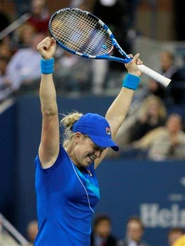 Kim Clijsters, of Belgium, reacts after defeating Vera Zvonareva, of Russia, to win the women's championship match at the U.S. Open tennis tournament in New York, Saturday, Sept. 11, 2010.  (AP Photo/Charles Krupa) By Charles Krupa