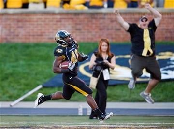 Missouri running back Henry Josey, left, scores a touchdown on a 62-yard run during the quarter of an NCAA college football game against McNeese State, Saturday, Sept. 11, 2010, in Columbia. (AP Photo/L.G. Patterson) By L.G. Patterson