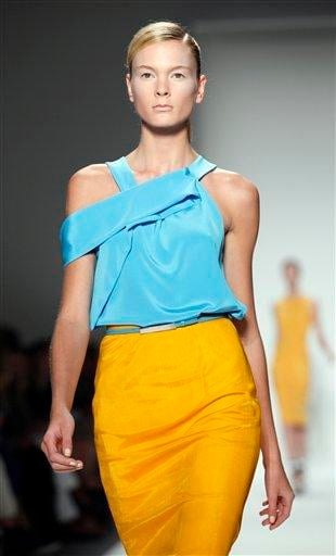 The Prabal Gurung spring 2011 collection is modeled, Saturday, Sept. 11, 2010, during Fashion Week in New York, . (AP Photo/Stuart Ramson) By STUART RAMSON