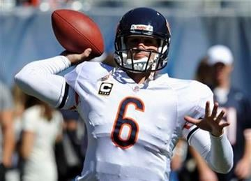 Chicago Bears quarterback Jay Cutler (6) warms up before an NFL football game against the Detroit Lions in Chicago, Sunday, Sept. 12, 2010. (AP Photo/Jim Prisching) By Jim Prisching