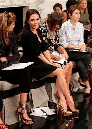Victoria Beckham makes an appearance at her Spring 2011 collection, in New York, on Sunday, Sept. 12, 2010.  (AP Photo/Peter Kramer) By Peter Kramer