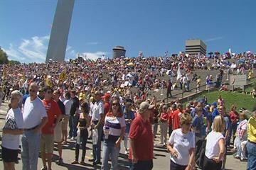 Thousands gather on the Archgrounds for Sunday's tea party rally. By KMOV Web Producer