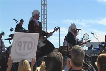 "The band ""The Founding Fathers"" played at the rally Sunday. By KMOV Web Producer"