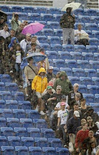 Tennis fans file out of the stands at the start of a rain delay during the men's championship match at the U.S. Open tennis tournament in New York, Monday, Sept. 13, 2010. (AP Photo/Kathy Willens) By Kathy Willens