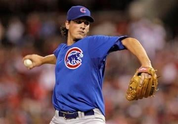 Chicago Cubs starting pitcher Jeff Samardzija pitches in the second inning of a baseball game against the St. Louis Cardinals, Monday, Sept. 13, 2010 in St. Louis.(AP Photo/Tom Gannam) By Tom Gannam