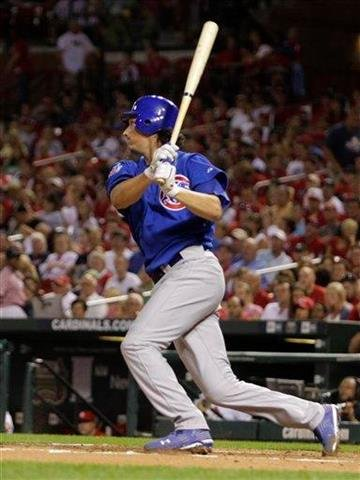 Chicago Cubs starting pitcher Jeff Samardzijain connects for an RBI single in the second inning of a baseball game against the St. Louis Cardinals, Monday, Sept. 13, 2010, in St. Louis.(AP Photo/Tom Gannam) By Tom Gannam