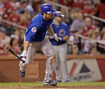 Chicago Cubs' Xavier Nady watches his two RBI single in the ninth inning of a baseball game against the St. Louis Cardinals, Tuesday, Sept. 14, 2010 in St. Louis. The Cubs beat the Cardinals 7-2.(AP Photo/Tom Gannam) By Tom Gannam