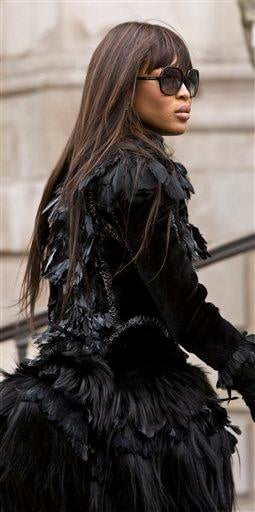British model Naomi Campbell arrives to attend the Alexander McQueen memorial service at St Paul's Cathedral in London Monday, Sept. 20, 2010, which takes place during London Fashion Week. (AP Photo/Joel Ryan) By Joel Ryan