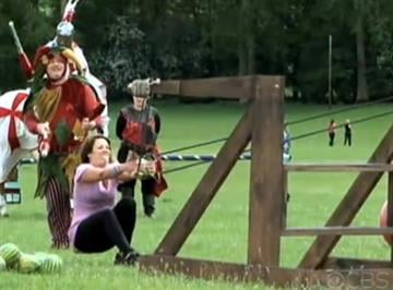 (CBS)  -- When a medieval weapon launches a watermelon in one racer's face, will she be able to continue? Don't try this at home! The Amazing Race Premieres Sunday, Sept. 26 on KMOV Channel 4. By Bryce Moore