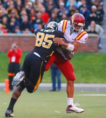 Missouri defensive end Aldon Smith hits Iowa State quarterback Austen Arnaud during a game between Iowa State and Missouri in Columbia, Mo., on Saturday, Nov. 21, 2009. (Photo credit: Nathan Giannini for KMOV) By Nathan Giannini