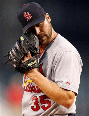 St. Louis Cardinals pitcher Jake Westbrook pauses on the mound during the first inning of a baseball game against the Pittsburgh Pirates in Pittsburgh on Tuesday, Sept. 21, 2010. The Pirates won 5-2.  (AP Photo/Gene J. Puskar) By Gene J. Puskar