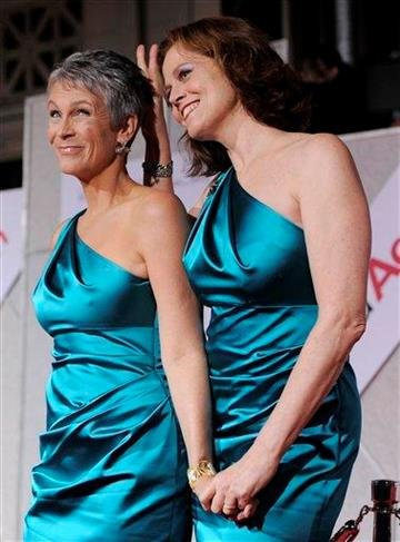 """Jamie Lee Curtis, left, and Sigourney Weaver, cast members in """"You Again,"""" pose together at the premiere of the film in Los Angeles, Wednesday, Sept. 22, 2010. (AP Photo/Chris Pizzello) By Chris Pizzello"""