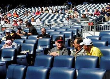 A lot of empty seats are shown during a major league baseball game between the Pittsburgh Pirates and St. Louis Cardinals, in Pittsburgh, Thursday, Sept. 23, 2010.  (AP Photo/John Heller) By John Heller