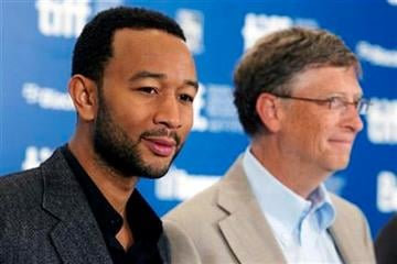 John Legend, left, and Bill Gates during a press conference for the film Waiting for Superman during the 2010 Toronto International Film Festival in Toronto Saturday, September 11, 2010. (AP Photo/The Canadian Press, Darren Calabrese) By Darren Calabrese