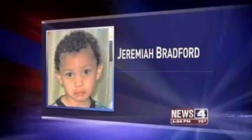 Four-year-old Jeremiah Bradford was pronounced dead at a hospital yesterday. He was victim of severe beatings, prosecutors say. His mother's boyfriend is accused of the crime.