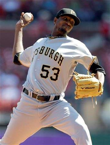 Pittsburgh Pirates starting pitcher James McDonald throws during the first inning of a baseball game against the St. Louis Cardinals Wednesday, Sept. 29, 2010, in St. Louis. (AP Photo/Jeff Roberson) By Jeff Roberson