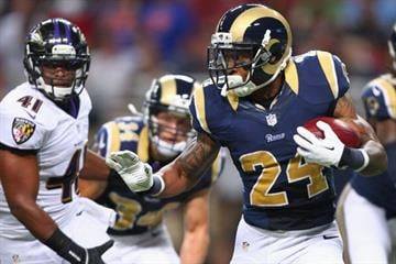 ST. LOUIS, MO - AUGUST 29: Isaiah Pead #24 of the St. Louis Rams rushes against the Baltimore Ravens during a pre-season game at the Edward Jones Dome on August 29, 2013 in St. Louis, Missouri.  (Photo by Dilip Vishwanat/Getty Images) By Dilip Vishwanat