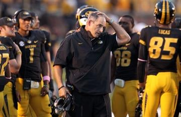 Missouri Tigers head coach Gary Pinkel watches his team during a time out while playing the Arizona State Sun Devils in the second quarter at Faurot Field in Columbia, Missouri on September 15, 2012. UPI/Bill Greenblatt By BILL GREENBLATT