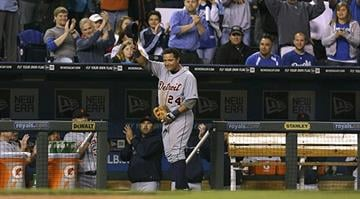 KANSAS CITY, MO - OCTOBER 3: Miguel Cabrera #24 of the Detroit Tigers tips hat as he leaves the game in the fourth inning at Kauffman Stadium on October 3, 2012 in Kansas City, Missouri. (Photo by Ed Zurga/Getty Images) By KMOV Web Producer