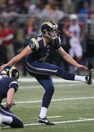St. Louis Rams kicker Greg Zuerlein kicks an extra point in the first quarter against the Arizona Cardinals at the Edward Jones Dome in St. Louis on October 4, 2012.  UPI/Bill Greenblatt By BILL GREENBLATT