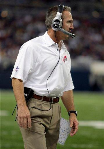 St. Louis Rams coach Steve Spagnuolo stands on the sidelines during the second quarter of an NFL football game against the Minnesota Vikings on Sunday, Oct. 11, 2009, in St. Louis. (AP Photo/Darron Cummings) By Darron Cummings