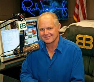 This photo provided by Rush Limbaugh shows Limbaugh in his Palm Beach, Fla. radio studio, the last week of Sept., 2009.  (AP Photo/Photo courtesy of Rush Limbaugh) By Bryce Moore