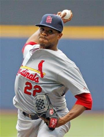 St. Louis Cardinals starter Edwin Jackson pitches to the Milwaukee Brewers during the first inning of a baseball game, Wednesday, Aug. 3, 2011, in Milwaukee. (AP Photo/Jeffrey Phelps) By Jeffrey Phelps